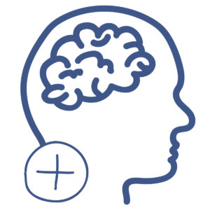Icon of Brain with '+' sign