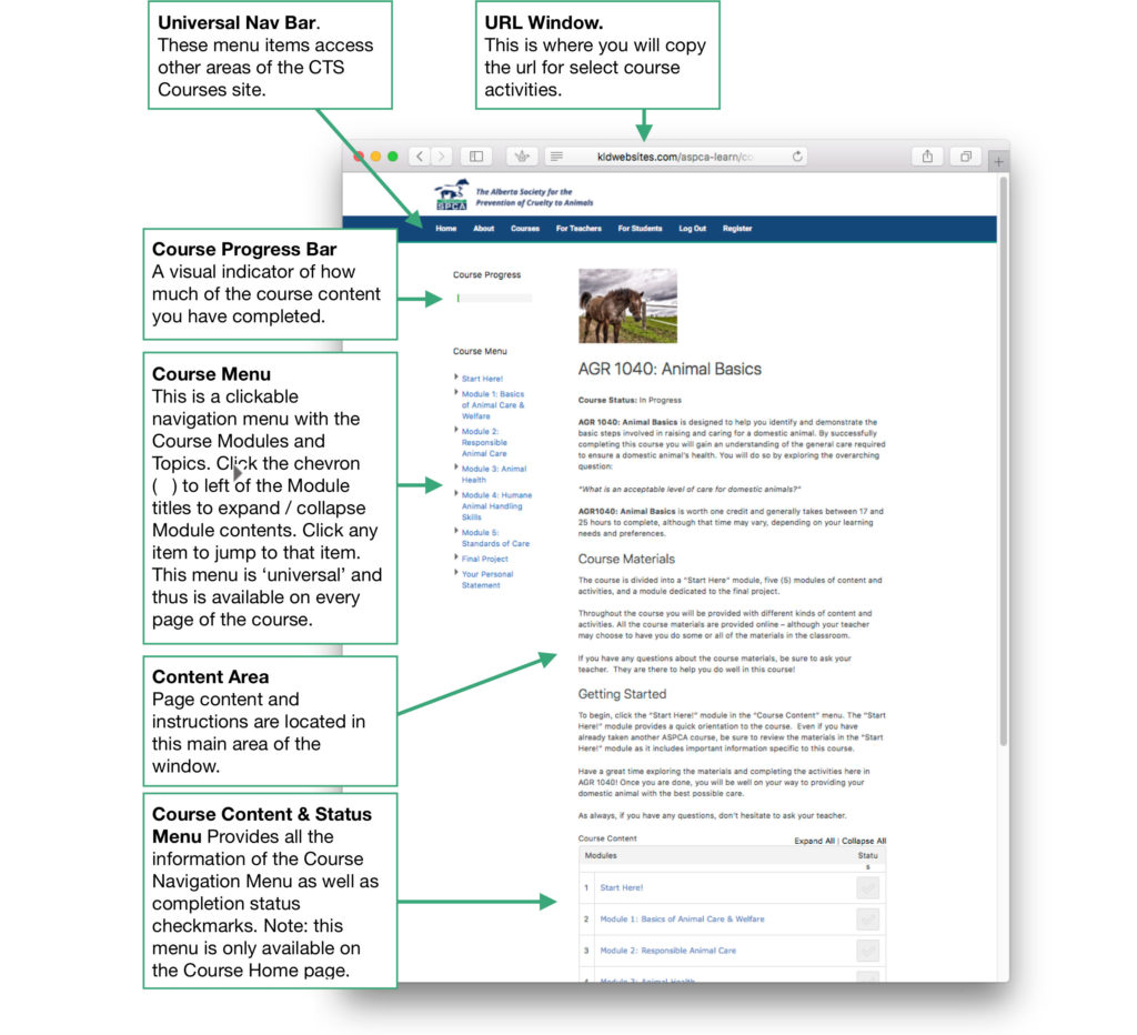 Screenshot of a typical Course home page with explanatory boxes.
